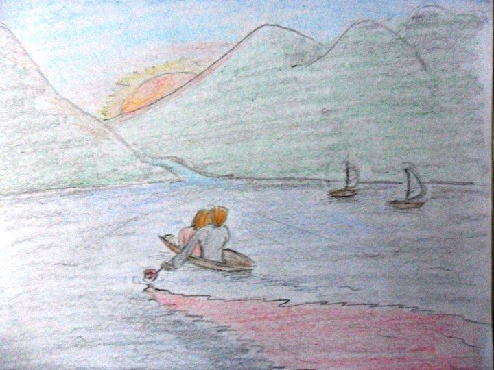 le lac en dessin